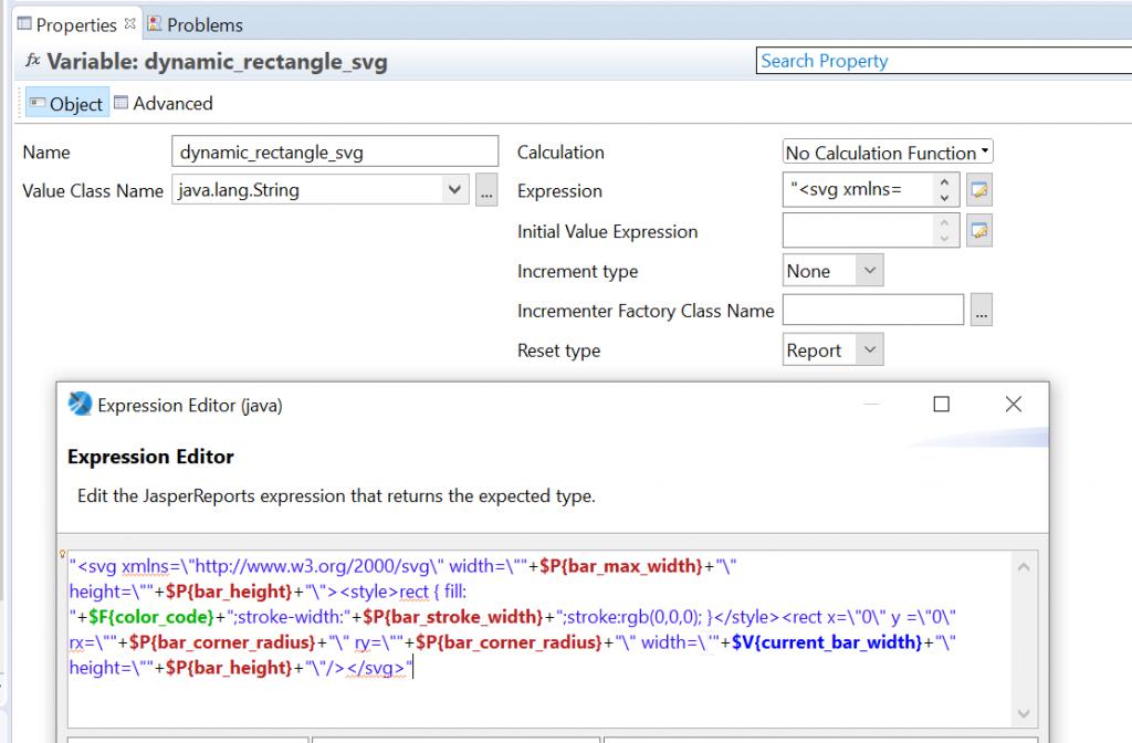 Quellcode für eine Berichtsvariable, welche dynamisch generierten SVG Code enthalten soll